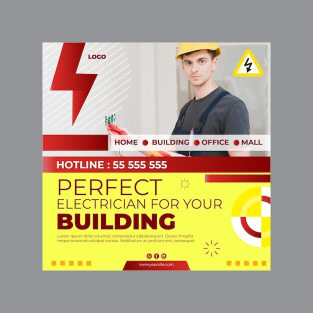 Plantilla de volante cuadrado de anuncios de electricista Vector Premium