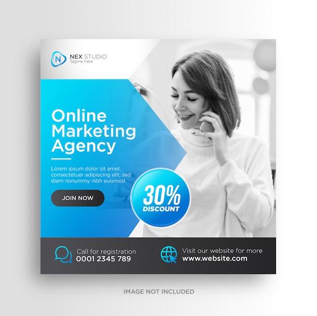 Plantilla de volante cuadrado de banner de redes sociales de marketing de negocios digitales Vector Premium