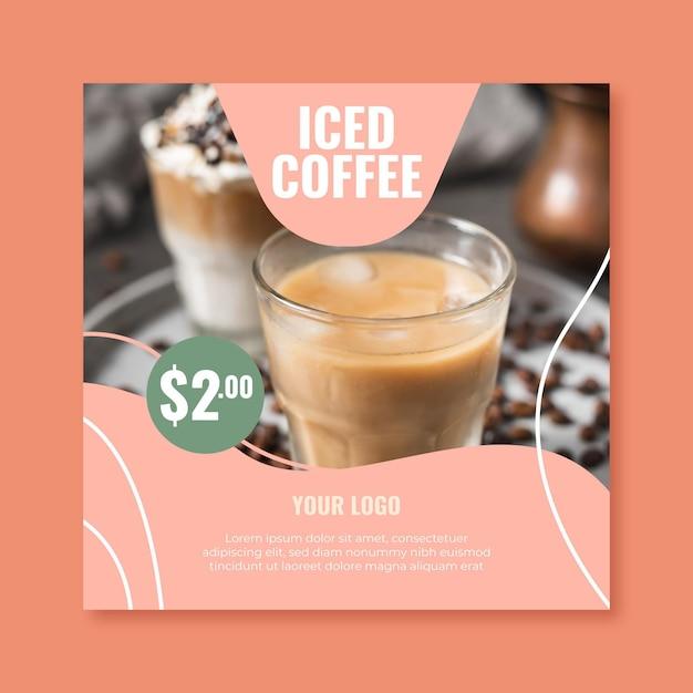Plantilla de volante cuadrado para cafetería vector gratuito