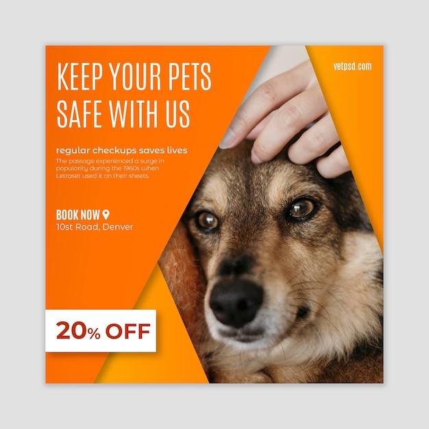 Plantilla de volante cuadrado de clínica veterinaria de mascotas saludables vector gratuito