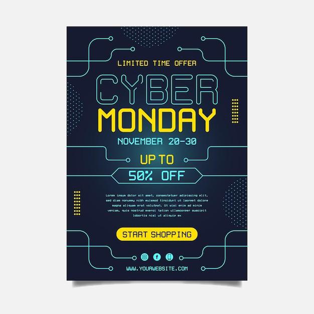 Plantilla de volante de cyber monday de diseño plano vector gratuito
