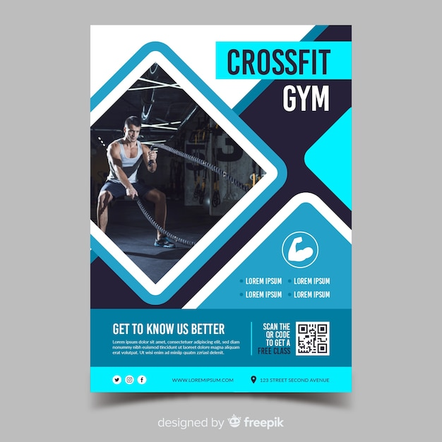 Plantilla de volante de deporte de gimnasio crossfit vector gratuito