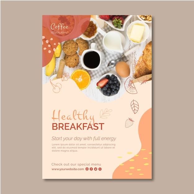 Plantilla de volante de desayuno saludable vector gratuito