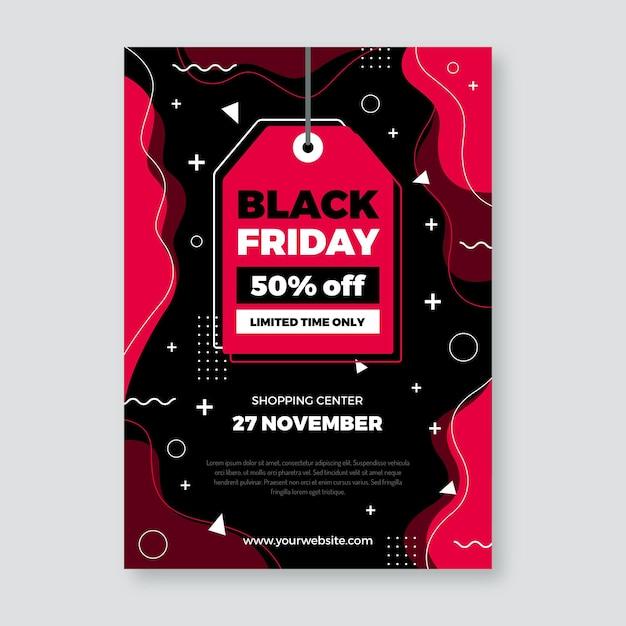 Plantilla de volante de diseño plano de viernes negro de etiqueta de precio vector gratuito