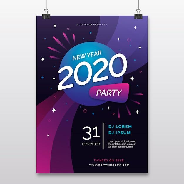 Plantilla de volante de fiesta abstracta de año nuevo vector gratuito