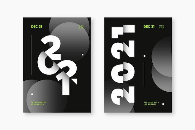 Plantilla de volante de fiesta de año nuevo 2021 tipográfico abstracto vector gratuito