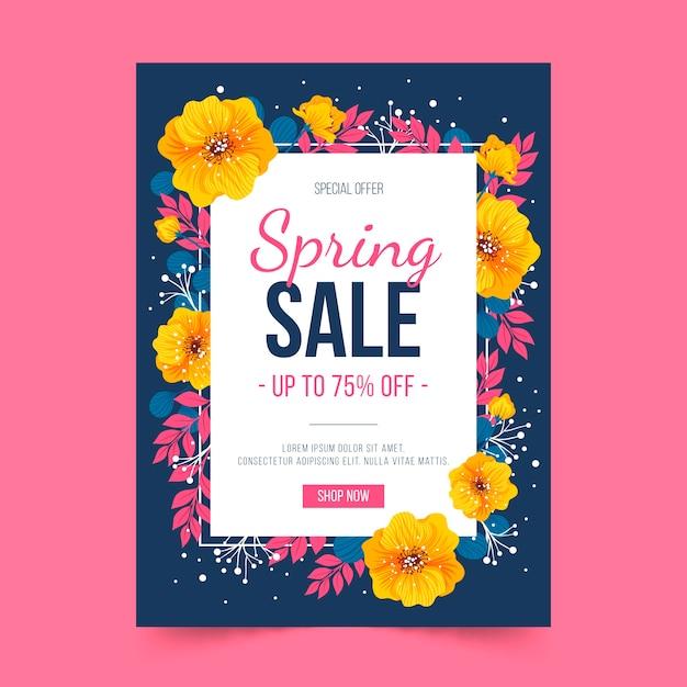 Plantilla de volante de flores doradas y primavera vector gratuito