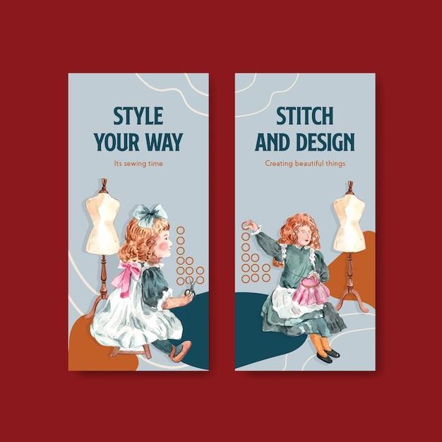 Plantilla de volante con ilustración acuarela de diseño de concepto de costura. vector gratuito