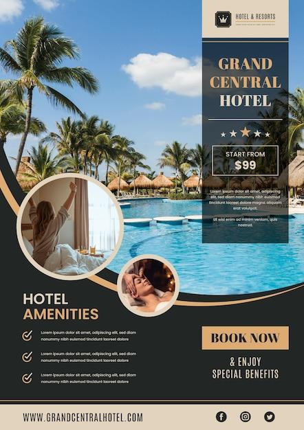 Plantilla de volante de información del hotel con foto Vector Premium