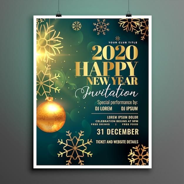 Plantilla de volante de invitación de feliz año nuevo 2020 vector gratuito