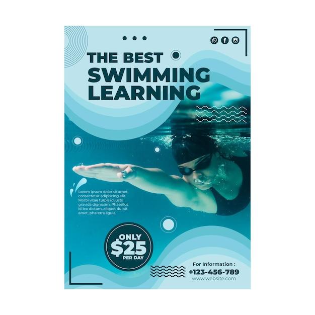 Plantilla de volante de lección de natación vector gratuito