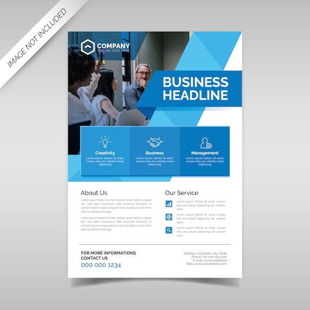 Plantilla de volante de negocios con formas geométricas azules Vector Premium