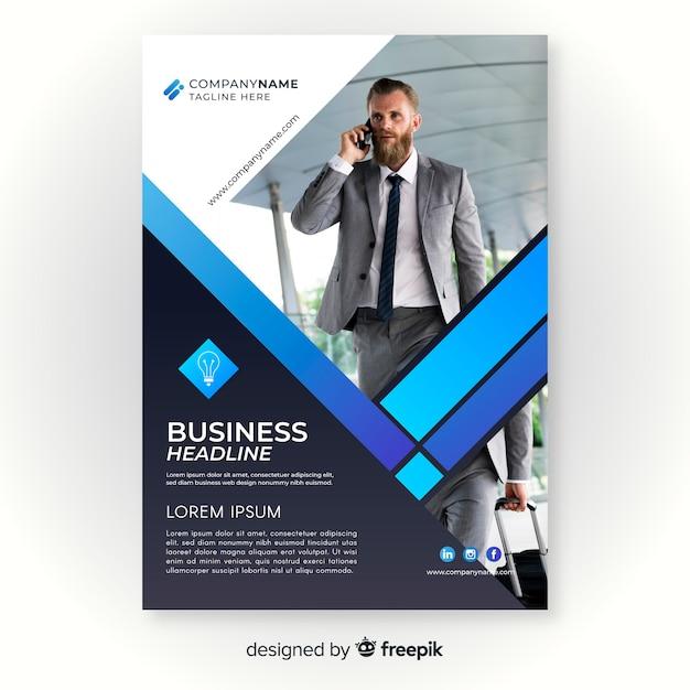Plantilla de volante de negocios con foto vector gratuito
