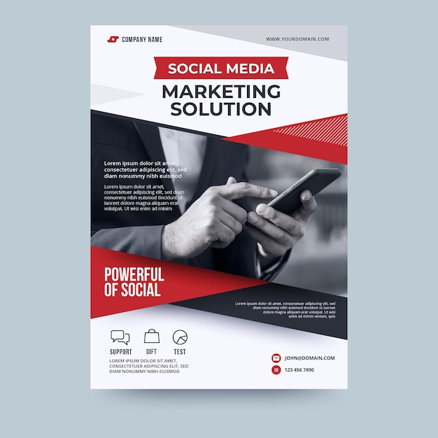 Plantilla de volante de negocios de solución de marketing en redes sociales Vector Premium