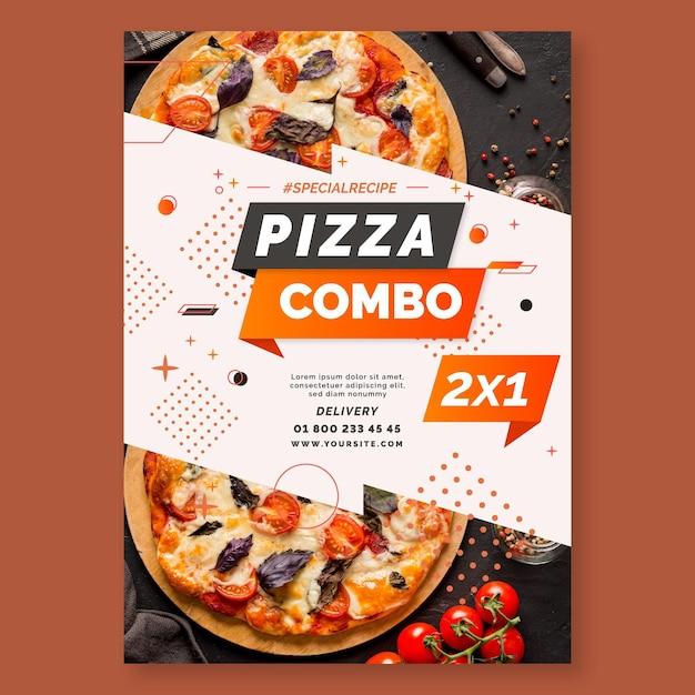 Plantilla de volante de pizza Vector Premium