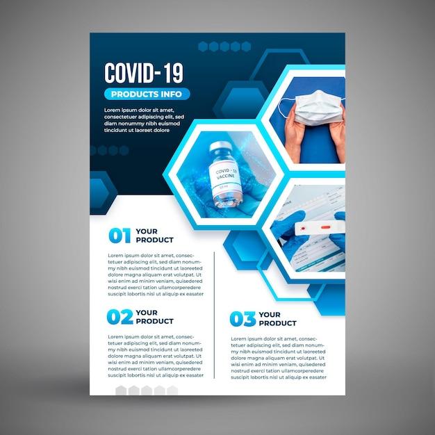 Plantilla de volante de productos médicos de coronavirus con foto vector gratuito
