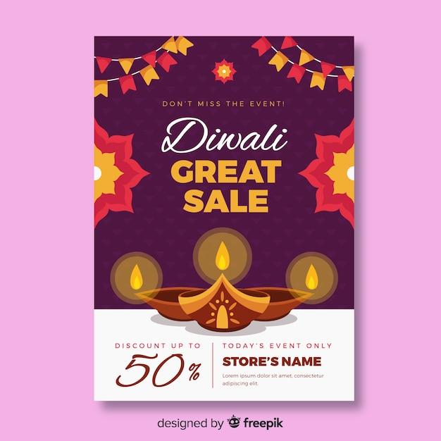 Plantilla de volante de venta de diwali de diseño plano vector gratuito