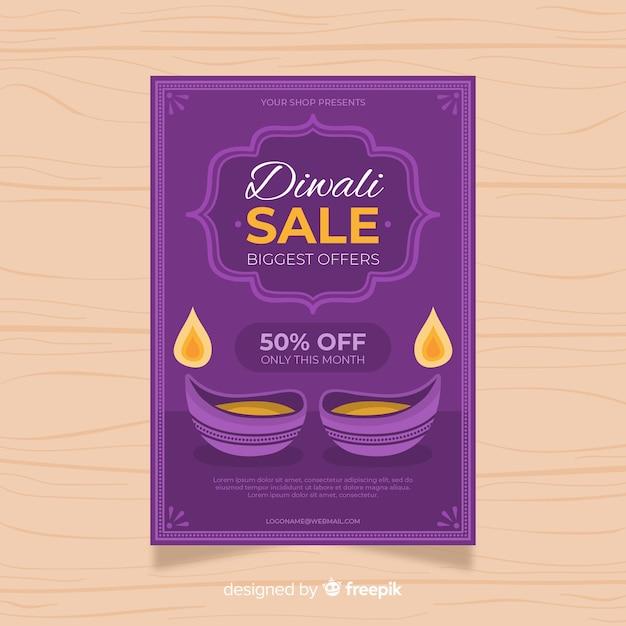 Plantilla de volante de venta plana de diwali 50% de descuento vector gratuito