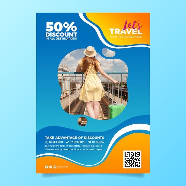 Plantilla de volante de venta de viajes con foto vector gratuito