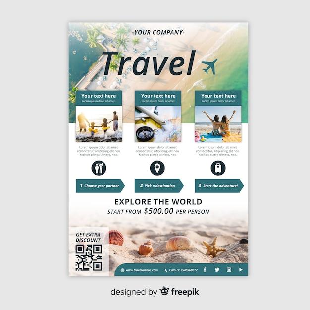 Plantilla de volante de viaje con foto vector gratuito