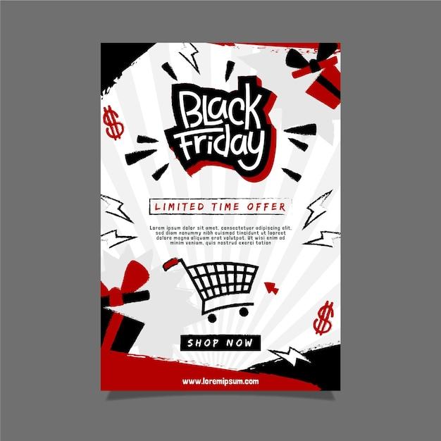 Plantilla de volante de viernes negro dibujado a mano vector gratuito