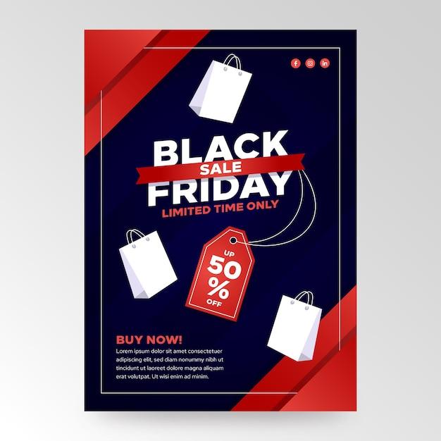 Plantilla de volante de viernes negro de diseño plano vector gratuito