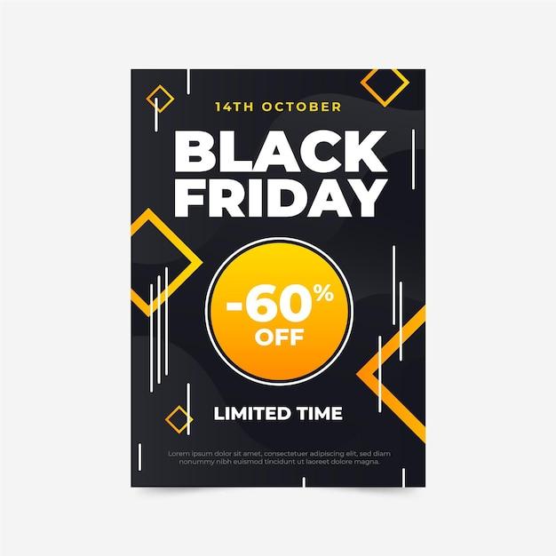 Plantilla de volante de viernes negro plano vector gratuito