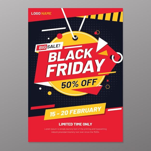 Plantilla de volante de viernes negro vector gratuito