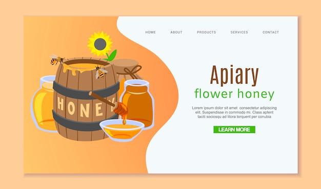 Plantilla web de apicultura y miel con barril de miel Vector Premium