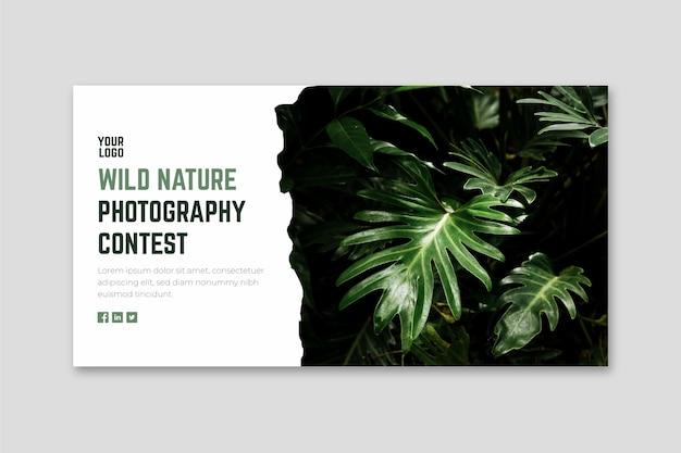 Plantilla web de banner de concurso de fotografía de naturaleza salvaje vector gratuito