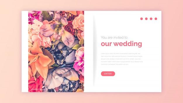 Plantilla web boda vector gratuito