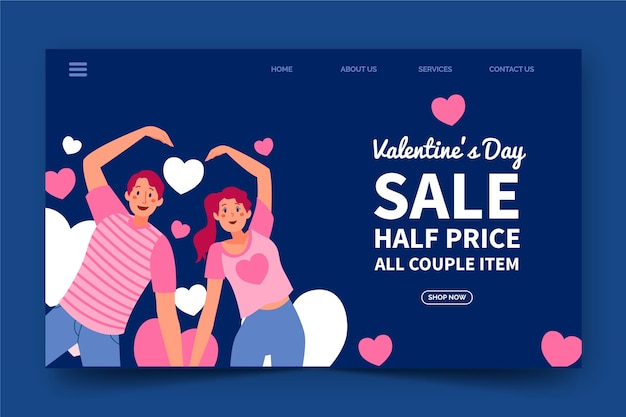 Plantilla web colorida para las ventas del día de san valentín vector gratuito