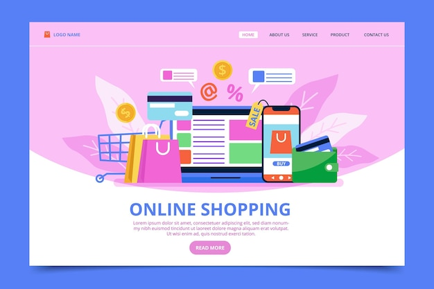 Plantilla web de compras en línea vector gratuito
