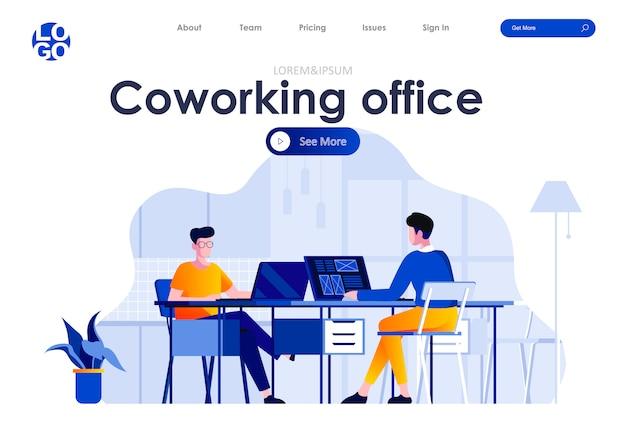 Plantilla web de diseño de página de aterrizaje plana de oficina de coworking Vector Premium