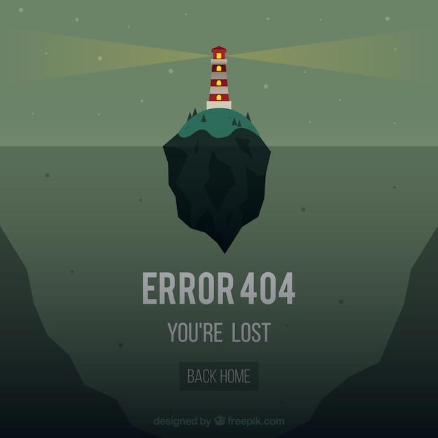 Plantilla de web error 404 con faro de islaen estilo plano Vector Premium