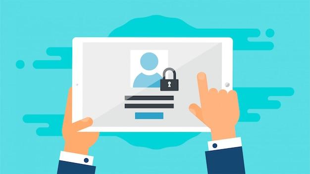 Plantilla web del formulario de inicio de sesión de la tableta Vector Premium