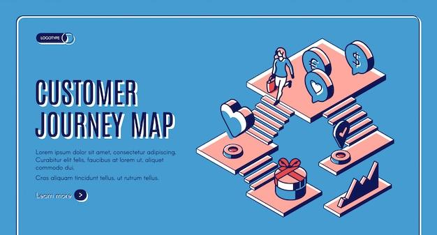 Plantilla web isométrica de mapa de viaje del cliente vector gratuito
