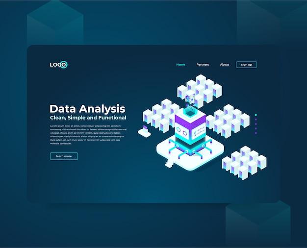 Plantilla web de página de aterrizaje para cryptocurrency y composición isométrica de blockchain, analistas y gerentes que trabajan en el inicio de criptografía, analistas de datos Vector Premium