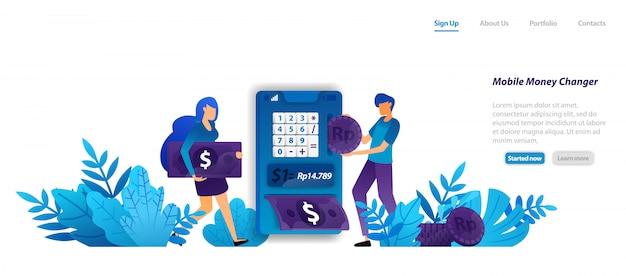 Plantilla web de página de aterrizaje. fácil y moderno diseño de aplicaciones para el cambio de dinero móvil, dólares isométricos y dinero, concepto de servicio de banca en línea Vector Premium