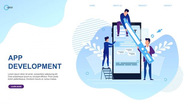Plantilla web de la página de destino para la agencia de desarrollo de aplicaciones. Vector Premium