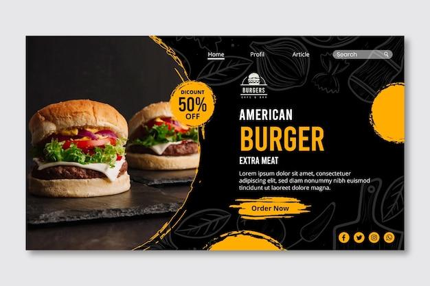 Plantilla web de página de destino de comida estadounidense vector gratuito
