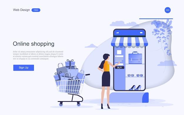 Plantilla web de página de destino para compras y servicios en línea. Vector Premium