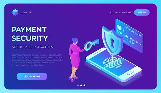 Plantilla web de página de destino para pagos seguros. concepto de protección de datos Vector Premium
