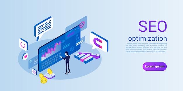 Plantilla web de página de destino para seo u optimización de motores de búsqueda Vector Premium