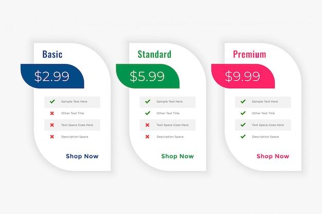 Plantilla web de planes de tabla de precios de negocios cleam vector gratuito