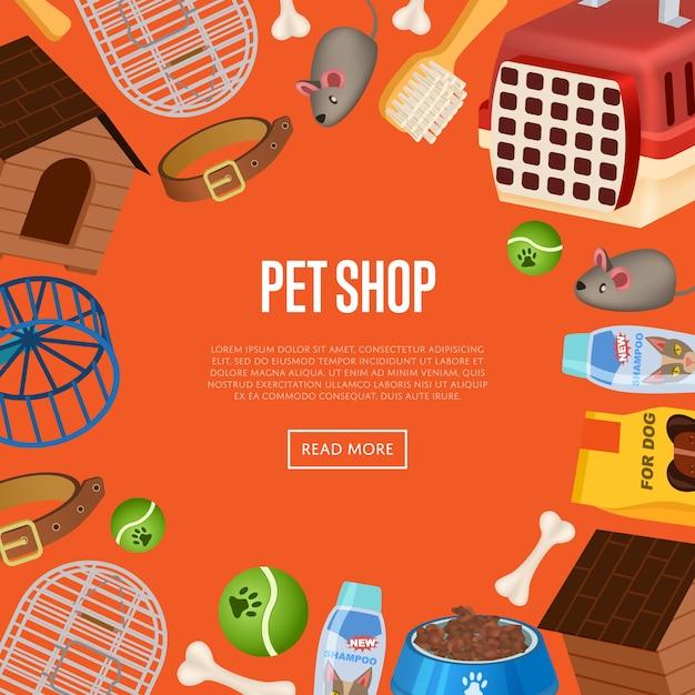 Plantilla web de tienda de mascotas en estilo de dibujos animados Vector Premium