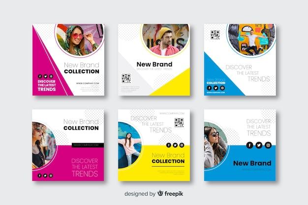 Plantillas de banners de moda para redes sociales vector gratuito