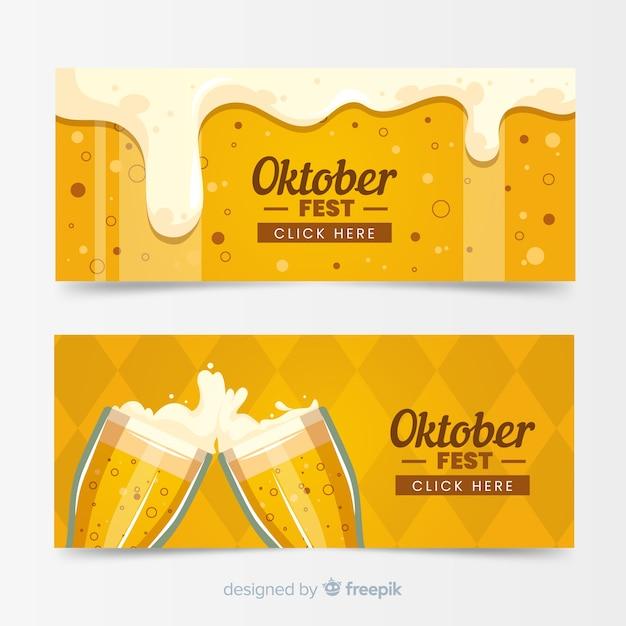 Plantillas de banners del oktoberfest en diseño plano vector gratuito