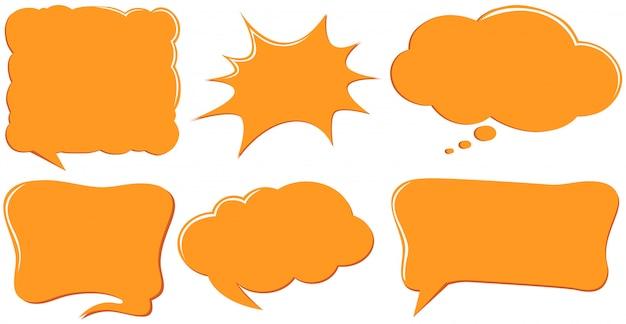 Plantillas de burbujas de discurso en color naranja vector gratuito