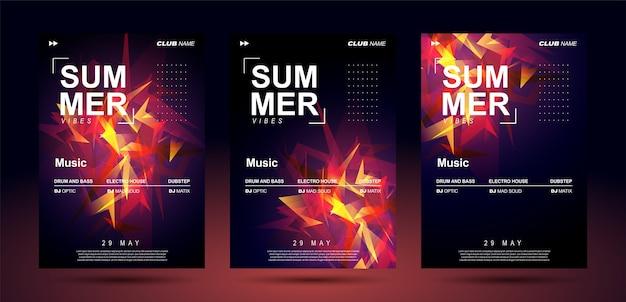 Plantillas de carteles de música para música electrónica de bajo. Vector Premium